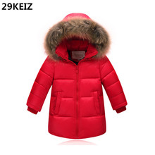 Boys Snow Wear 80% Duck Down Baby Boy Winter Jacket Fur Hooded Children Down Coat Thicken Boys Long Down Parkas Boy Down Jacket