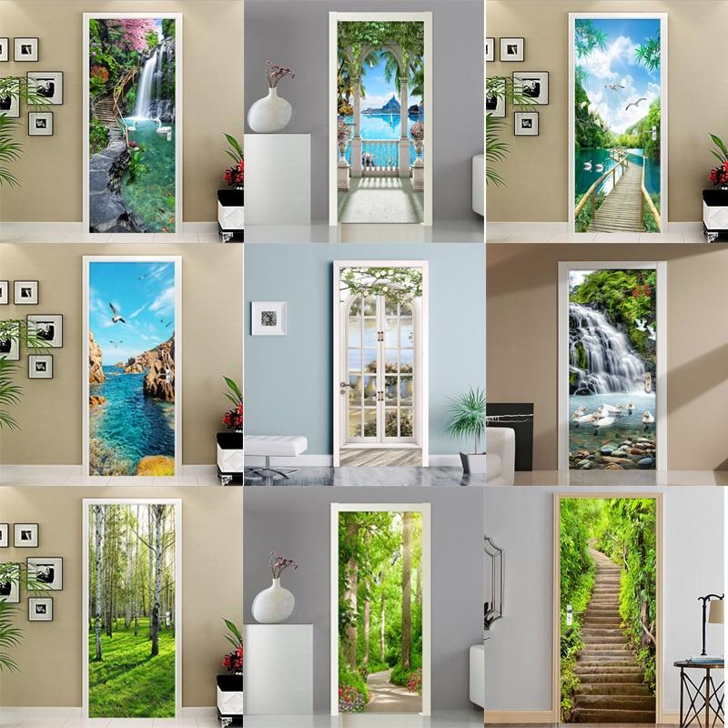 3D Stickers Painting Modern Landscape Photo Wallpaper Living Room Bedroom Home Door Sticker PVC Waterproof Wall Decals 3D Murals