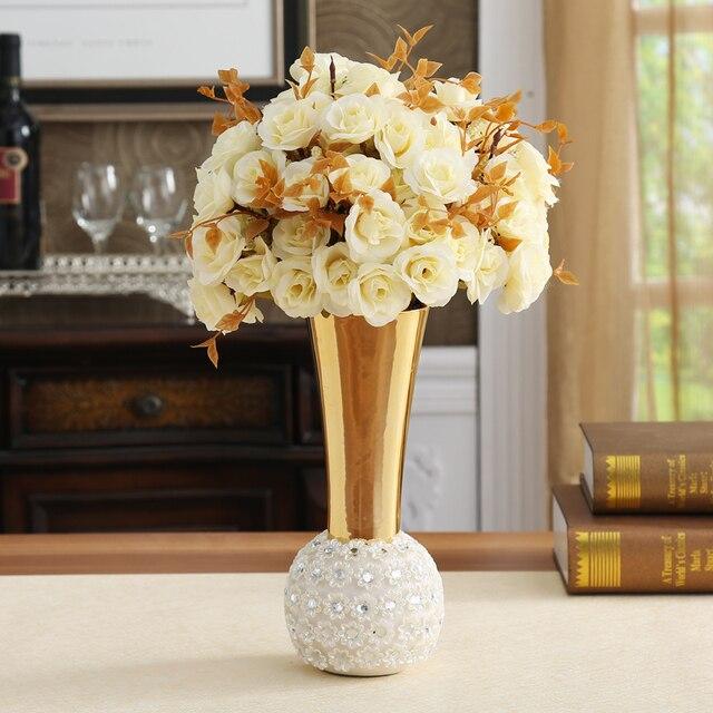 Europäischen stil luxus diamant blume vase keramik dekoration ...