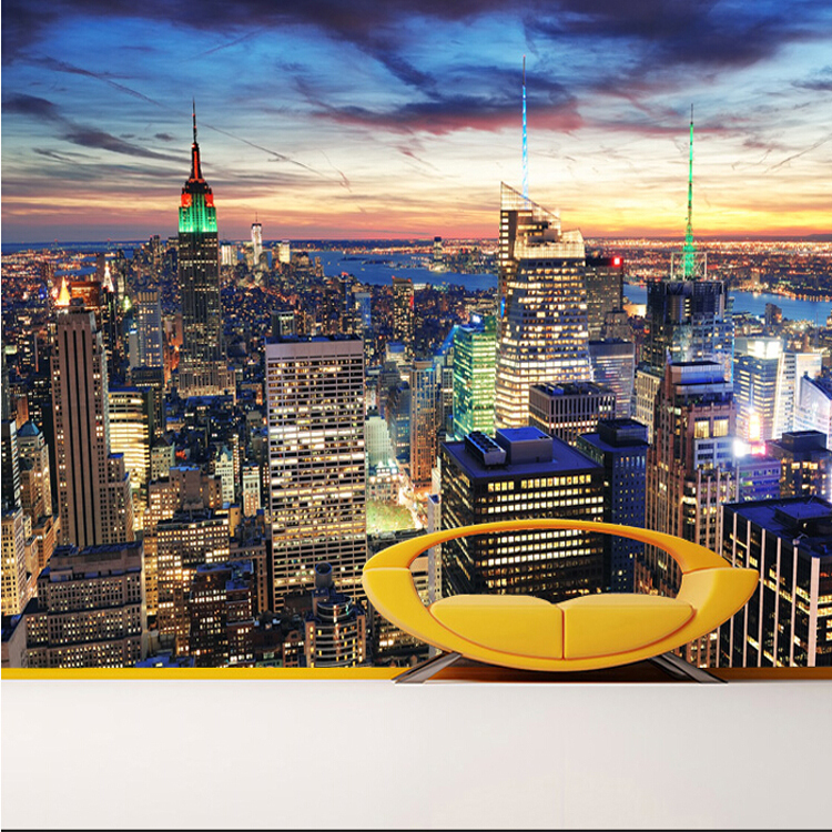 Custom 3d mural 3D New York city night modern mural sofa living room TV wall non-woven building wallpaper mural швейная машина janome 5515 5515