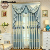 Blue Style Jacquard Chenille Embroidery Shading Screens Customized Curtains for Living Room Modern Window Valance for Bedroom