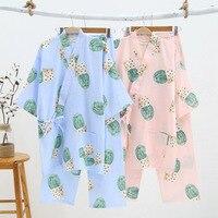Women's Pajamas Cotton Kimono Pyjamas Women Cactus Print Home Clothes for Women Long Sleeve Kimono Robe & Long Pants Suit