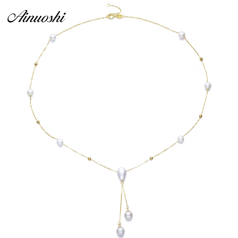 AINUOSHI 18K Yellow Gold Natural Cultured Freshwater Pearl Pendant Necklace AAAAA Grade Link Chain Fashion Joaillerie Design