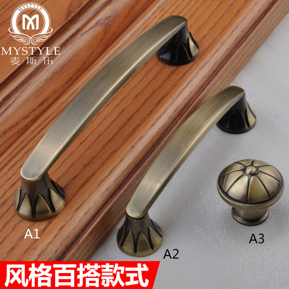 The new European-style antique wardrobe door handle pastoral American cupboard door handle drawer cabinet door handle hole half off osl single hole bronze seckill handle european antique handle drawer wardrobe cabinet door handle