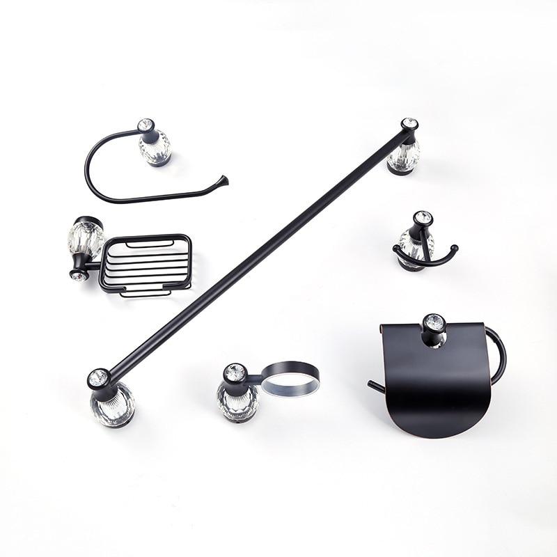 Аксессуары для ванной комнаты латунная стойка для полотенец черная готовая 6 шт набор аксессуаров для ванной комнаты белый кристалл полоте