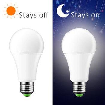 Лампочка со светодиодным датчиком E27 B22 10 W 15 W Dusk to Dawn умная лампочка AC85V-265V дневной Ночной свет Автоматическое включение/выключение для лестн...