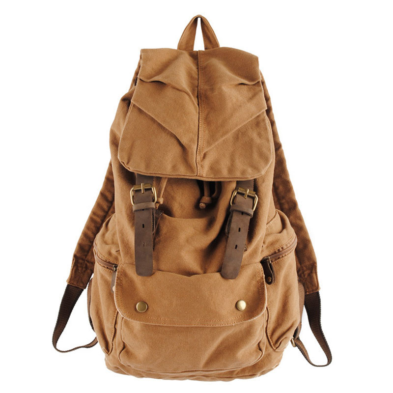 2017 Casual Literary style Women Backpack Simple Canvas String Large capacity Travelling bag Black Brown and Army green colors street style stylish buckle embellished multi way black canvas backpack for women