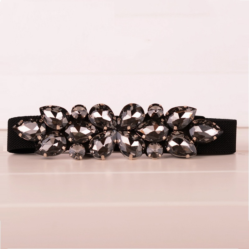 Elegant Rhinestone Belts Decoration Black Brown Cummerbund Thin Elastic Waist Womens Belts Narrow Corset Belts For Women