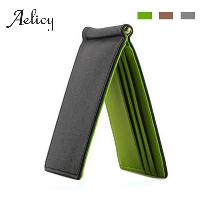 Aelicy Wallet ID Cash-Holder Money-Clip Credit-Card-Case Multifunctional Thin Solid Slim