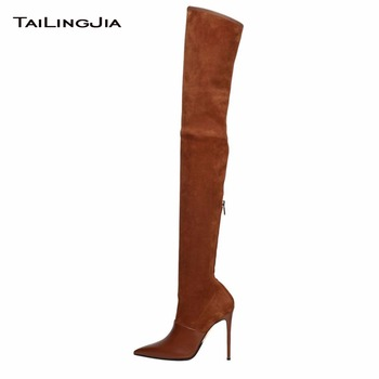 Popular High Heel Over Knee Brown Thin High Heel Boots Zipper Pointed Toe Woman Boots Black Sole Winter Keep Warm Ladies Boots