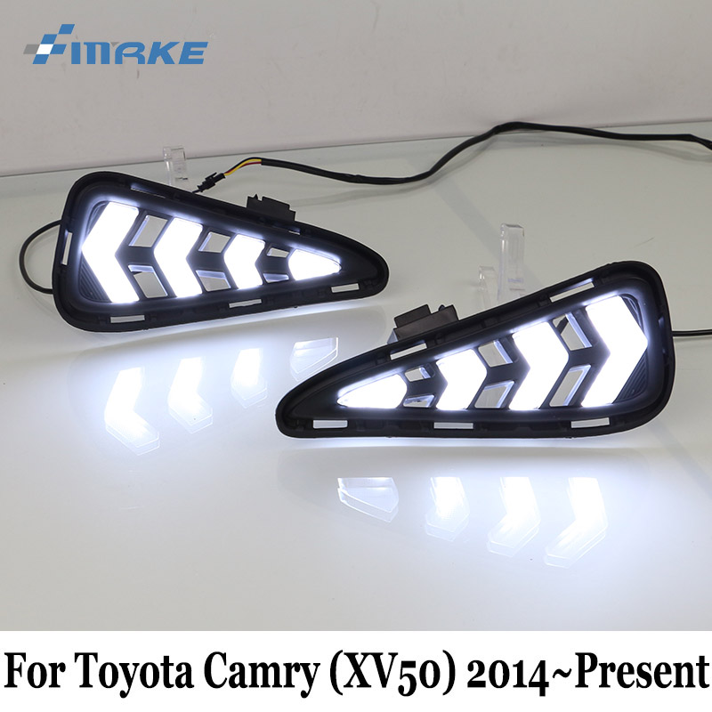 DRL For Toyota Camry (XV50) 2015 2016 2017 / 12V Car Daytime Running Light & Cornering Lamp / Car Styling Auto Day Driving Lamp smrke drl for toyota fj cruiser 2006 2016 car led daytime running lights with auto fog lamp day driving lamp car styling