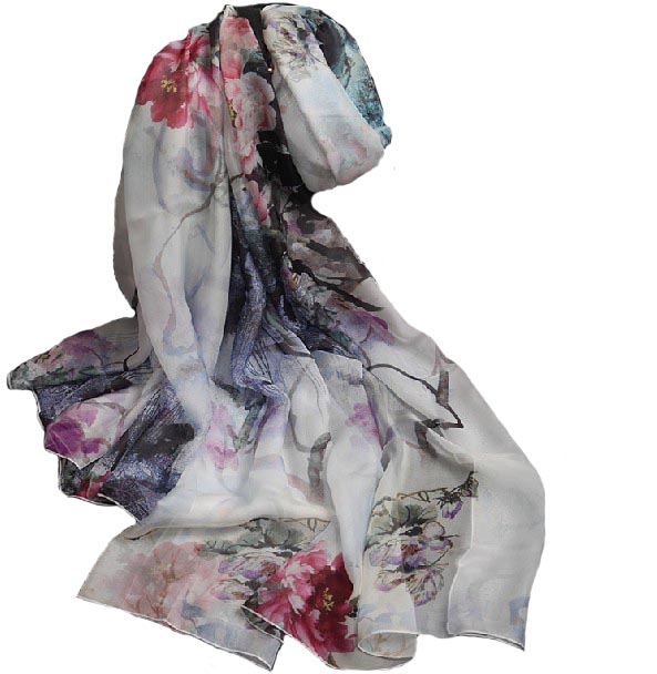 Winter scarves China Pashiminas for Women Scarf Necklace Chinese Ink wash painting Beach Suncreen Headscarf Arabic Muslim Hijab