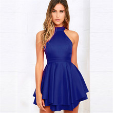 New summer fashion personality sling hollow folding zipper high waist sexy casual female dress