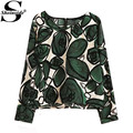 Sheinside Summer Spring Chiffon Casual Tops 2016 Women Hot Sale Blouses Green Long Sleeve Leaves Print Crop Blouse
