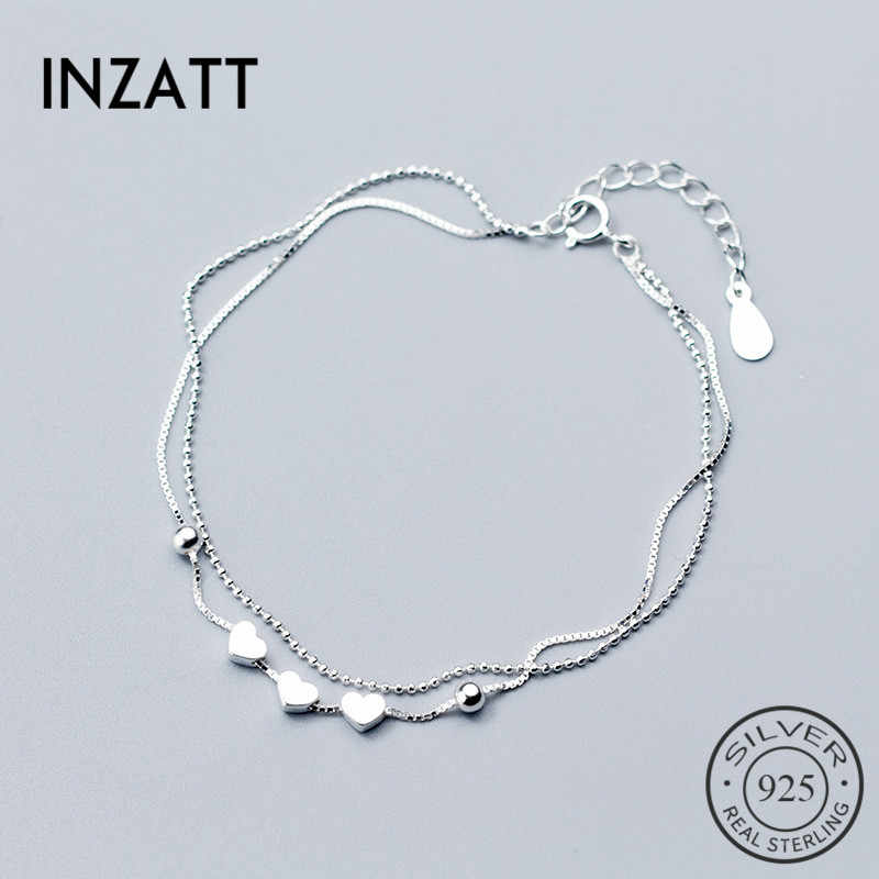 INZATT Real 925 Sterling Silver Beads chain Box Bracelet Heart Fine Jewelry For Women Engagement Party Accessories Gift