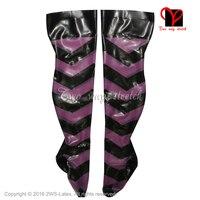 Sexy Latex Dij Hoge kousen Rubber kousen seamed voeten dragen Over knie plus size WZ-011