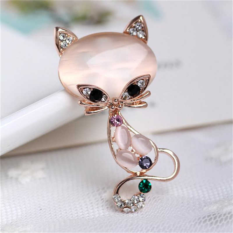 1 x Spilla Spille Moda Spille Volpe a Forma di Opale Spilla Donne Rhinestone Variopinto del Vestito Decorativo