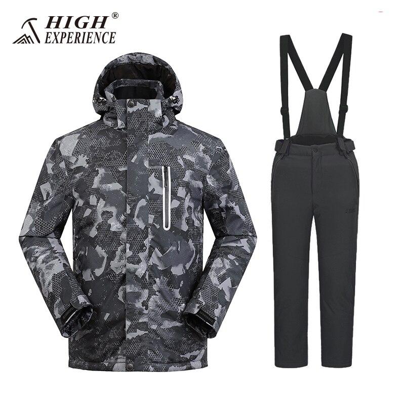 Grande Expérience de Ski Veste Hommes Vestes D'hiver Chaud Costumes Coupe-Vent Neige Vêtements montagne Ski Snowboard Veste Et Pantalon
