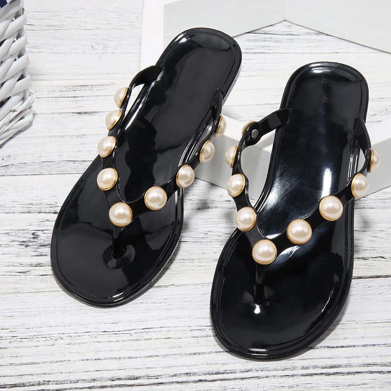 Jookrrix 2018 Summer Fashion Brand Girl Beach Slipper Pearl Jelly Shoes Women Lady Slippers Slip On String Bead Mules Flip Flops hahaflower summer women slippers flower slipper beach thong slipper mules clogs garden shoes woman flats jelly sandals flip flop