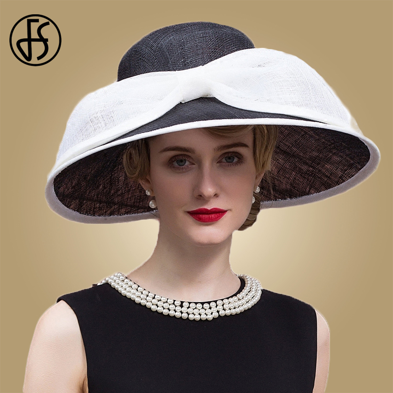 FS Elegant Women Linen Fedora Hat Black Ladies Wedding Hats For Church Sinamay Big Wide Brim