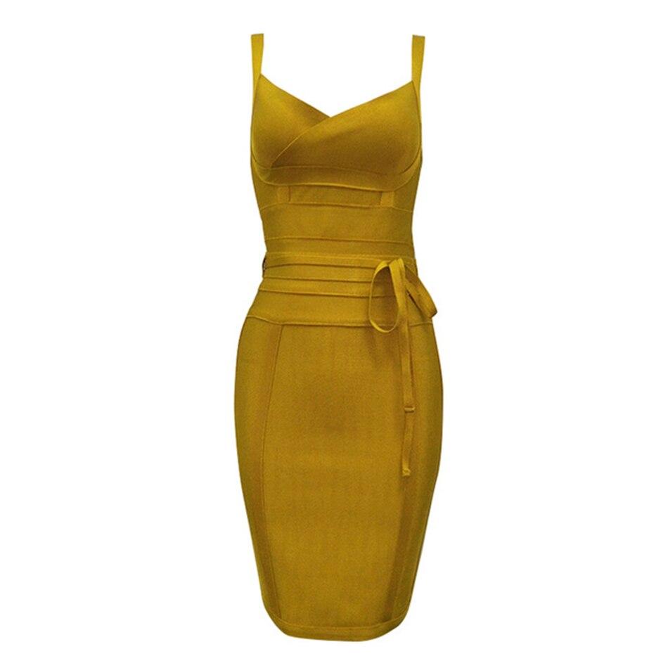 2020 Newest Fashion Bandage Dress Women Spaghetti Strap V-Neck Belt Sexy Night Club Evening Party Bodycon Dress Women Vestidos