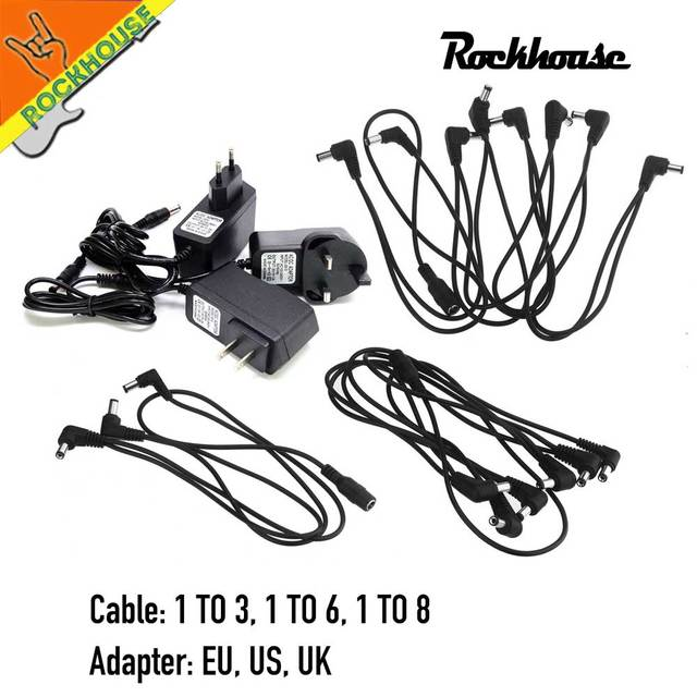 Guitar Pedal Power Supply 6 Ways Electrode Daisy Chain Harness Cable Guitar Pedal Power Supply Adapter Splitter Free shipping