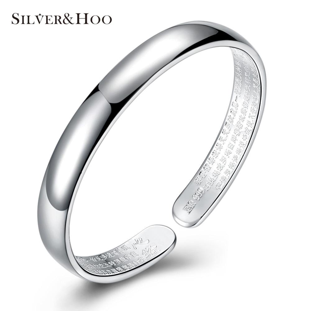 SILVERHOO 999 Sterling Silver Bangles Simple Style Cuff Bangle Bracelet for Women Opennable Charm Bracelets Fine