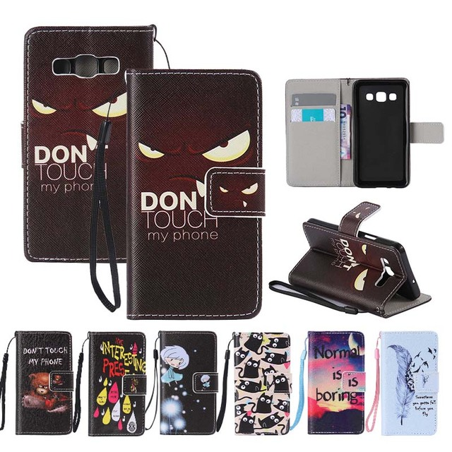 Flip Case For Samsung Galaxy A3 A5 2015 SM-A300 SM-A500 Fundas Hand Rope Cute Cartoon Painted Leather Wallet Card Slots Function