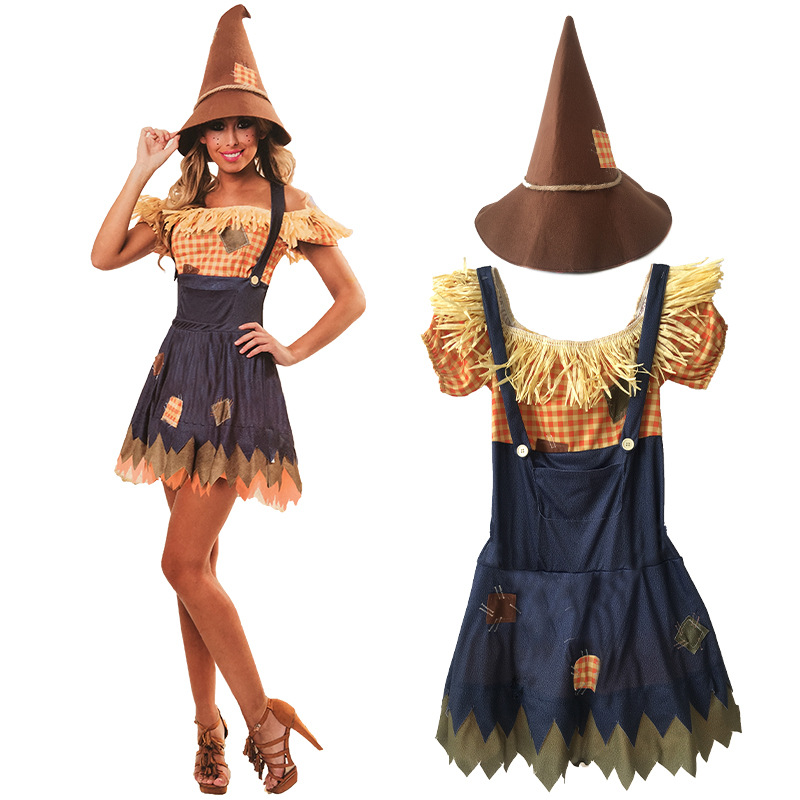 Annual Meeting Girls Christmas Party Halloween Scarecrow Costume Women witch skirt Cosplay Costume one-piece dress jackstraw
