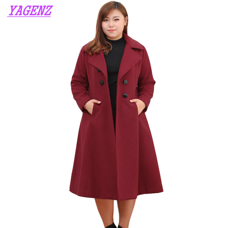 Extra large size Autumn Winter Woolen Jacket Women Slim Long Wool Coat Young Women High quality Double breasted Overcoat 9XL 447