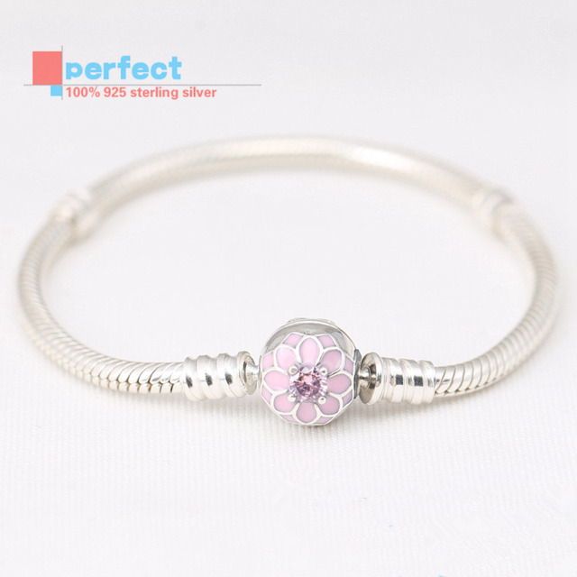 Authentic 925 Sterling Silver Zircon Dahlia Clasp Snake Charm Bracelets For Women Fits European Beads DIY Jewelry Making