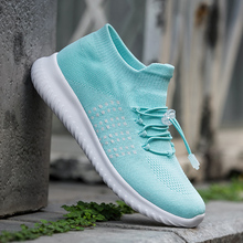2018 Bright Color Women's Shoes Slip On Sock Shoes for Woman Breathable Outdoor Walking Shoes Female Sneaker Drawstring Closure