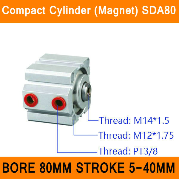 SDA80S Cylinder Magnet Compact SDA Series Bore 80mm Stroke 5-40mm Compact Air Cylinders Dual Action Air Pneumatic Cylinder ISO bore size 32mm 5mm stroke sda pneumatic cylinder double action with magnet sda 32 10
