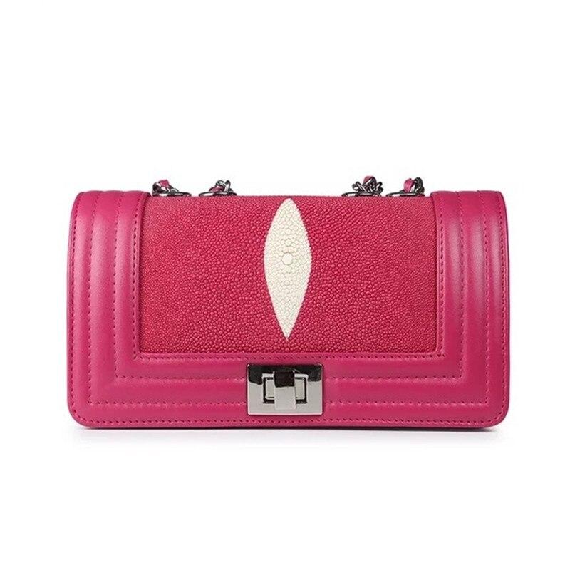 En Peau Bandoulière rose Sac Unique Véritable Cuir Stingray Dame Marron Foncé Petit Vert vert Mode Messager Designer À Femmes Main Chaud De qtTRI