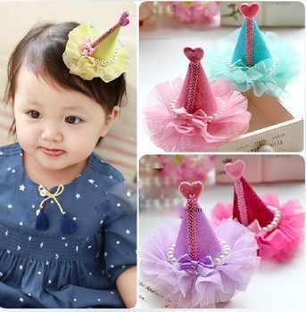 40pcs/lot Baby Christmas hat With Clip Girl birthday Cake Clip