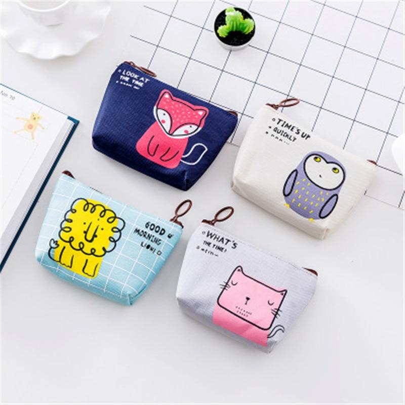 NIBESSER Kawaii Bag Canvas Girls Coin Purse Owl Cat Bag Change Pouch Wallet Purse Women Lovely Animal Money Bag Children Purse