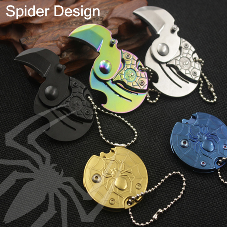 2020 Spiderman Knife Mini Pocket Tactical Tools Knife Self Defense Weapon Multifunction Camping Survival Folding Portable EDC