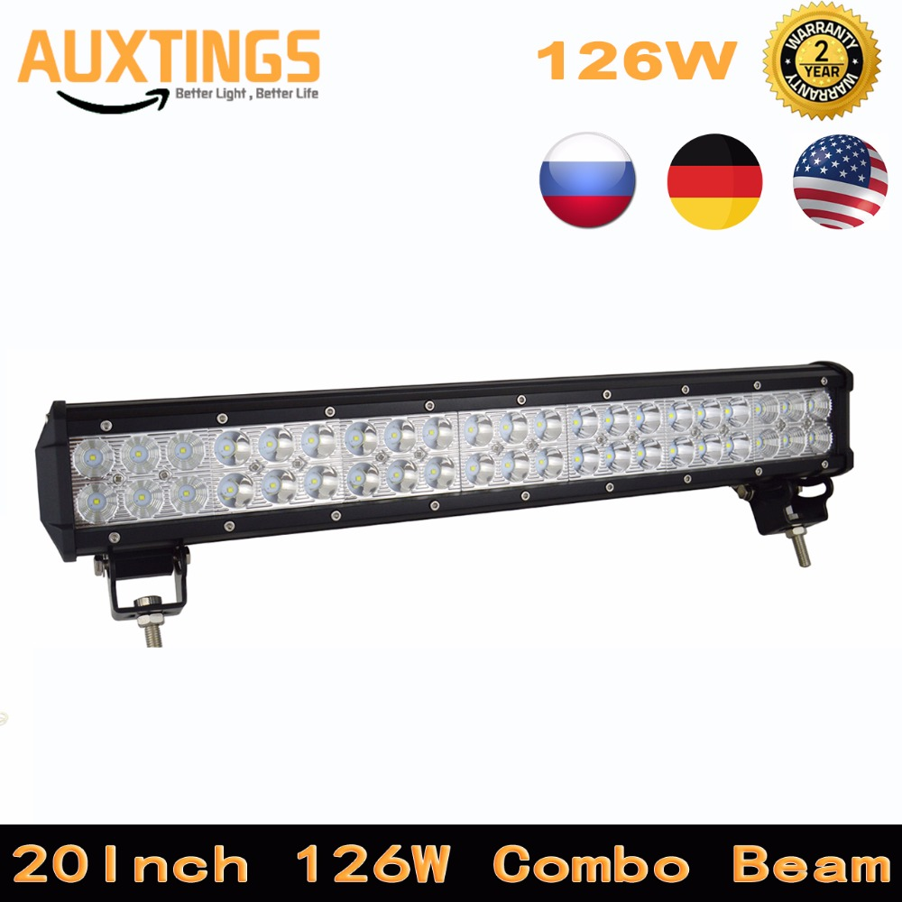 20inch LED Work Light Bar Single Row Spot Flood Combo Dual Driving Slim 4WD Boat