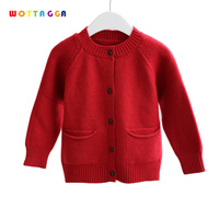 WOTTAGGA Girls Sweater Wool High Quality Pockets Draped Toddler Cardigan overcoat O-neck Long Sleeve Solid 2-6Y Children Sweater