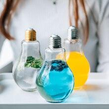 Innovative Summer Light Bulb Glass Cup Cute Transparent Fruit Juice Milk Student Portable Drink Cup Leak-Proof Bulb Water Bottle