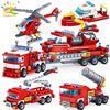 348pcs Fire Fighting 4in1 Trucks Car Helicopter Boat Building Blocks