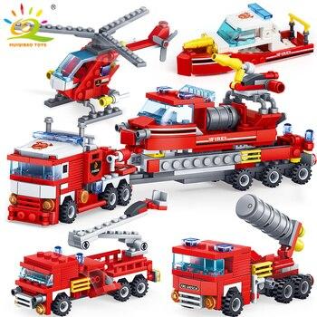 HUIQIBAO 348 sztuk Fire Fighting 4w1 ciężarówki samochodów helikopter łódź Building Blocks miasto strażak figurki człowiek zabawki cegły dla dzieci