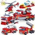 HUIQIBAO 348 stücke Brandbekämpfung 4in1 Lkw Auto Hubschrauber Boot Bausteine Stadt Feuerwehrmann Figuren Mann Ziegel Kinder Spielzeug