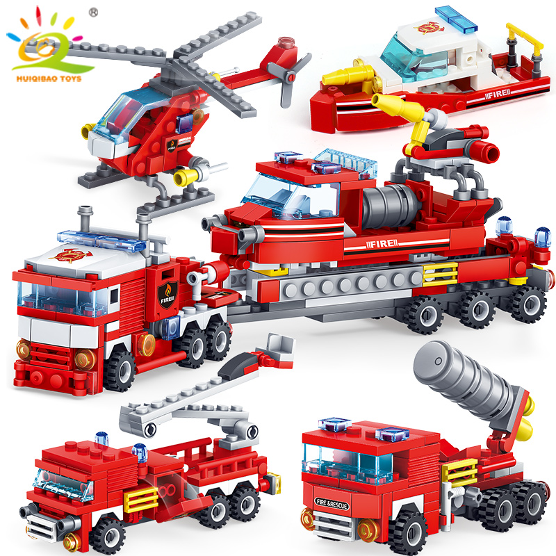 HUIQIBAO 348pcs Fire Fighting 4in1 Trucks Car Helicopter Boat Building Blocks City Firefighter figures man Bricks children Toys|Blocks| |  - title=