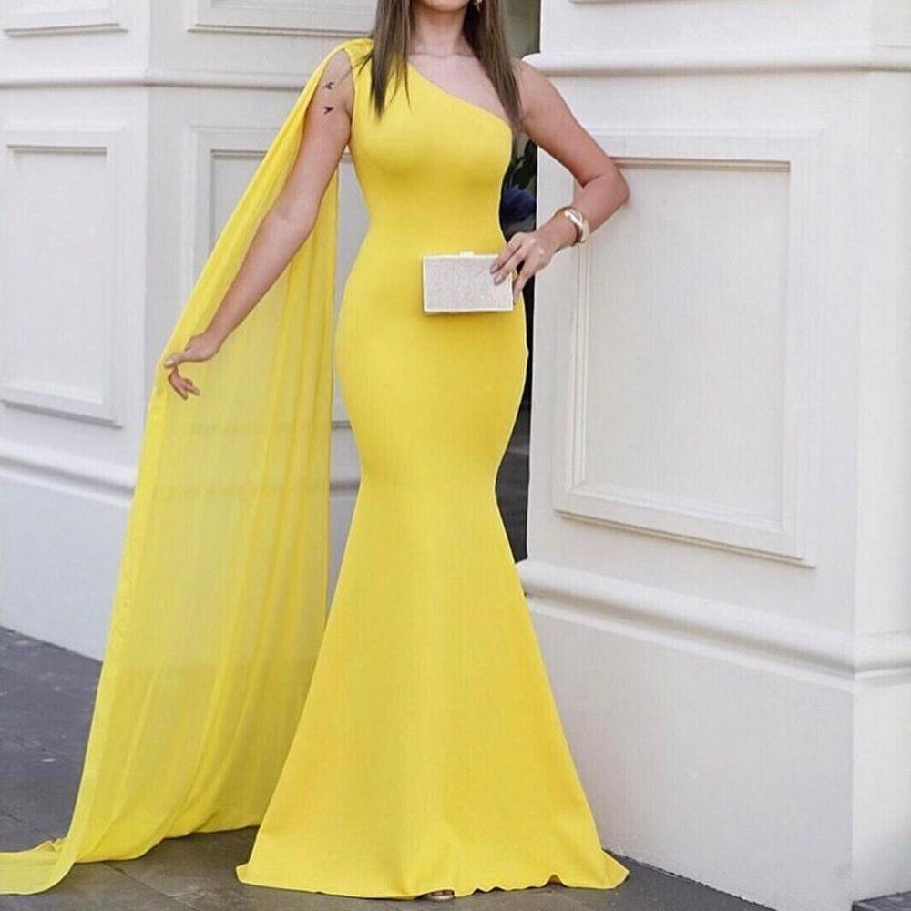 One Shoulder Yellow Chiffon Maxi Dress