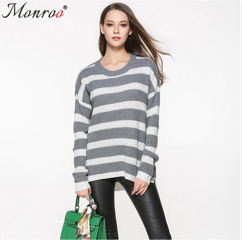 Women Casual Sweater Woman Long Sleeve Knitted Sweater Lady Knitted Sweater White Yellow Stripe Pink Blue Autumn Sweater