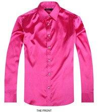 2017 Rose Luxury the groom shirt male long sleeve wedding shirt men's party Artificial silk dress shirt M-3XL 21 colors FZS26