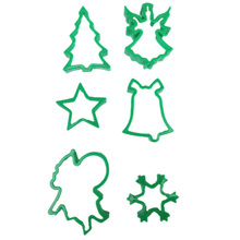6Pcs/set Christmas Cookies Cutter Molds Plastic Cake Mould Biscuit Plunger Forms For Decorating DIY Baking Tools