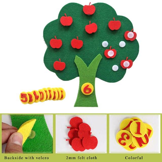 Paño de fieltro DIY niños juguete educativo Durable Digital cognitivo niño Montessori educación suministros Apple Tree juguetes niños regalos