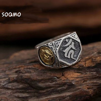 SOQMO Real 925 Sterling Silver Mens Signet Rings Buddha Ring Gold Big Vintage Punk Steampunk Rock Silver Jewelry SQM092
